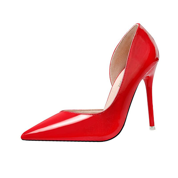 Pointed Toe Stiletto Heel Slip-On Ultra-High Heel Plain Thin Shoes