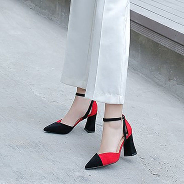 Chunky Heel Line-Style Buckle Pointed Toe Color Block Casual Thin Shoes