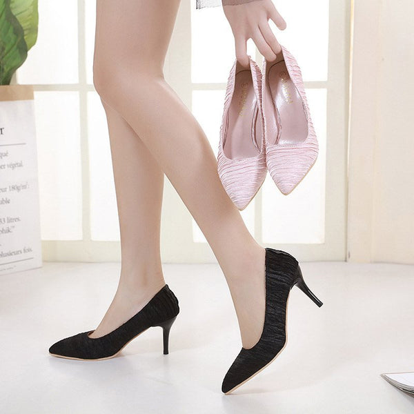 Slip-On Stiletto Heel Pointed Toe Plain Low-Cut Upper Thin Shoes