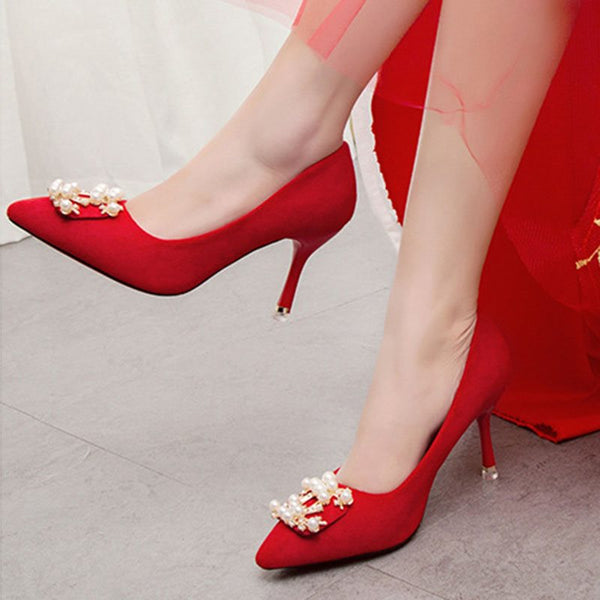 Beads Stiletto Heel Slip-On Pointed Toe Plain Wedding Thin Shoes
