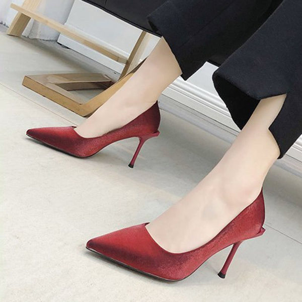 Slip-On Pointed Toe Stiletto Heel Ultra-High Heel Plain Thin Shoes