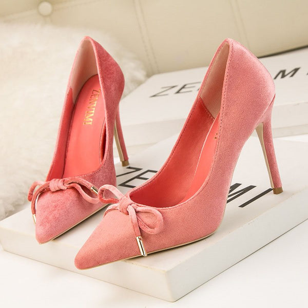 Bow Pointed Toe Slip-On Stiletto Heel Plain Low-Cut Upper Thin Shoes