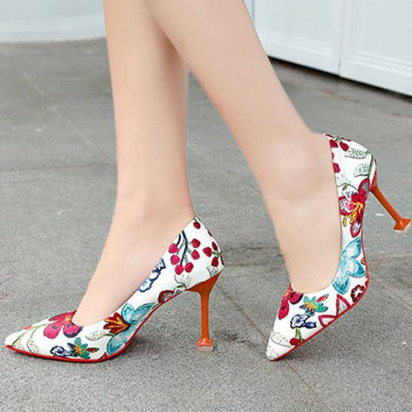 Pointed Toe Slip-On Floral Low-Cut Upper Thin Shoes