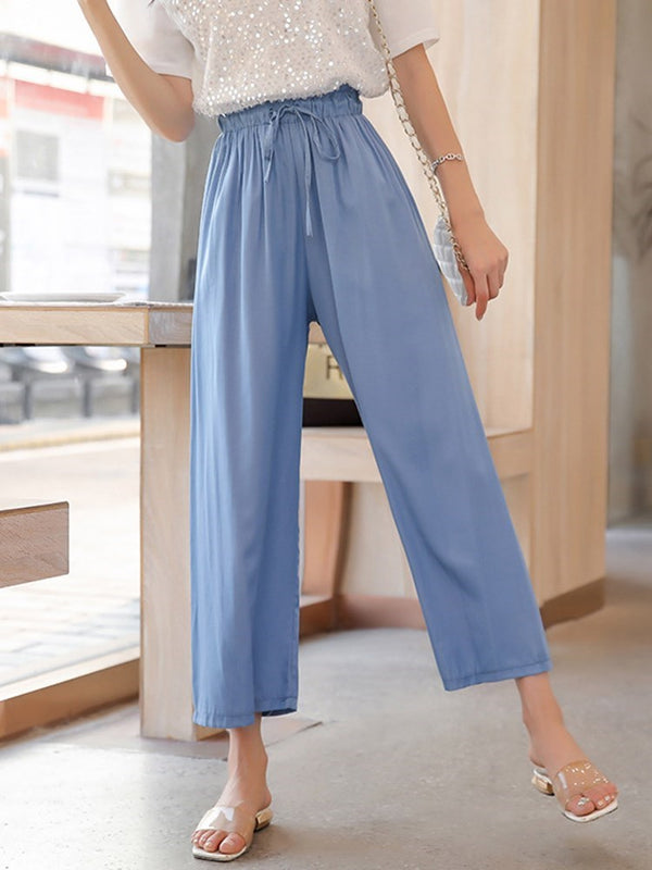 Loose Lace-Up Plain Wide Legs Ankle Length Casual Pants