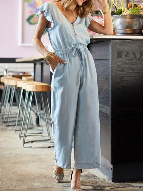 Western Full Length Plain High Waist Loose Jumpsuit