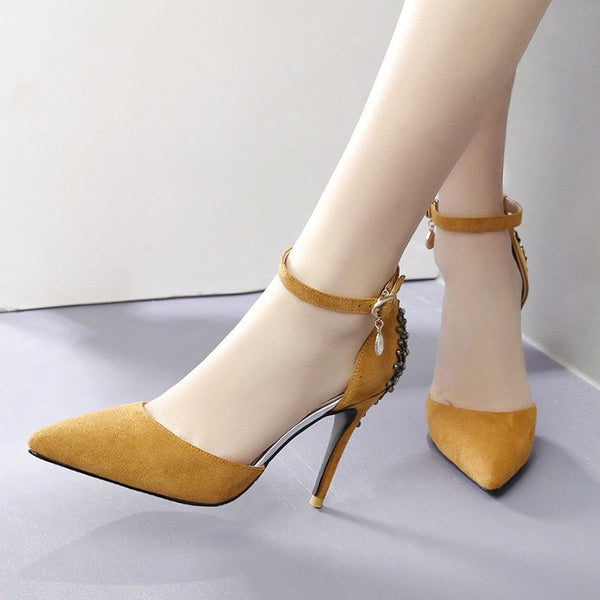 Pointed Toe Rhinestone Stiletto Heel Line-Style Buckle Low-Cut Upper Plain Thin Shoes