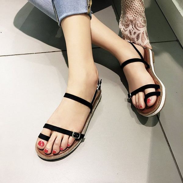 985a7f2506 ... Buckle Toe Ring Block Heel Strappy Plain Low-Cut Upper Sandals