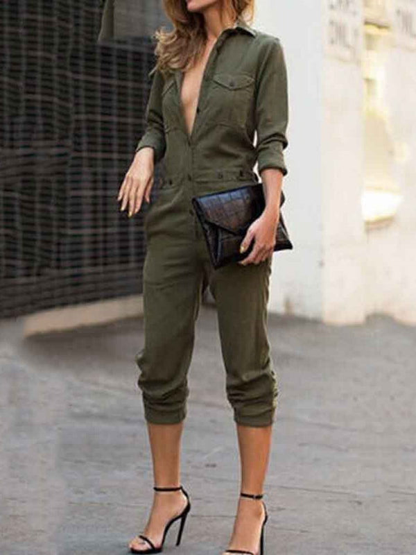Plain Mid-Calf Pocket Slim Mid Waist Jumpsuit