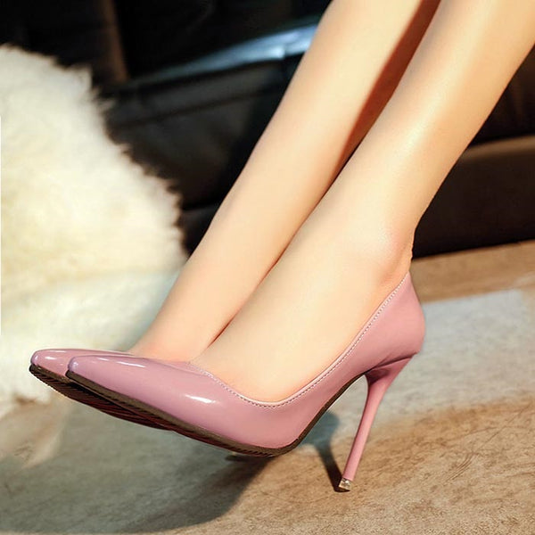 Slip-On Thread Pointed Toe Stiletto Heel Casual Plain Thin Shoes