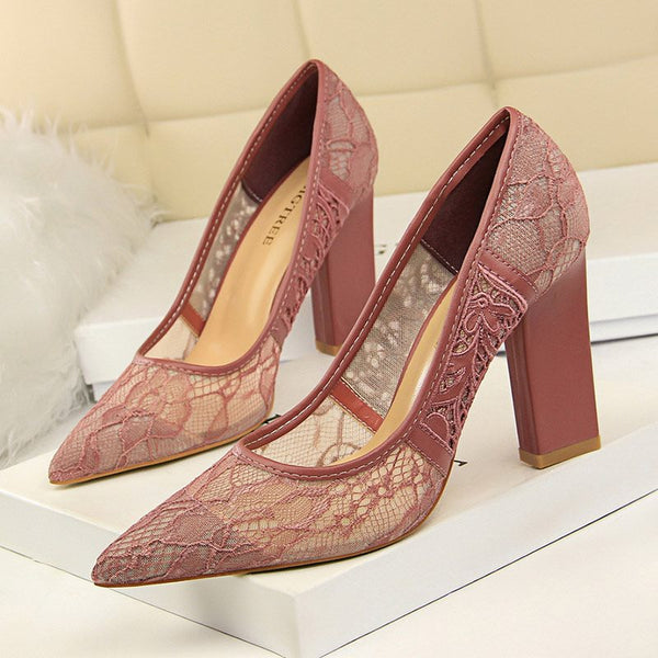 Slip-On Chunky Heel Pointed Toe Lace 9.5cm Banquet Thin Shoes