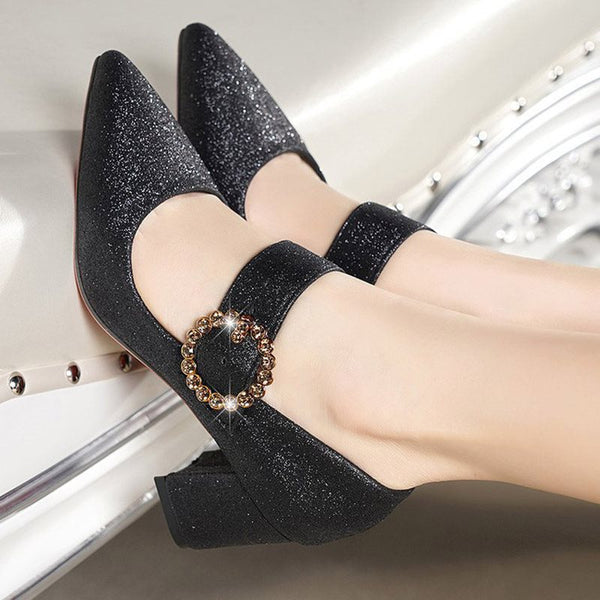 Slip-On Chunky Heel Pointed Toe Mid-Heel Low-Cut Upper Thin Shoes