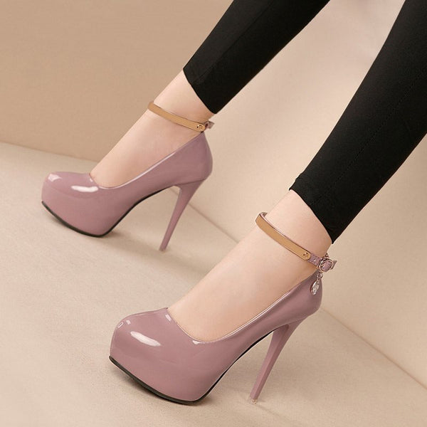Stiletto Heel Round Toe Line-Style Buckle Platform Casual Low-Cut Upper Thin Shoes