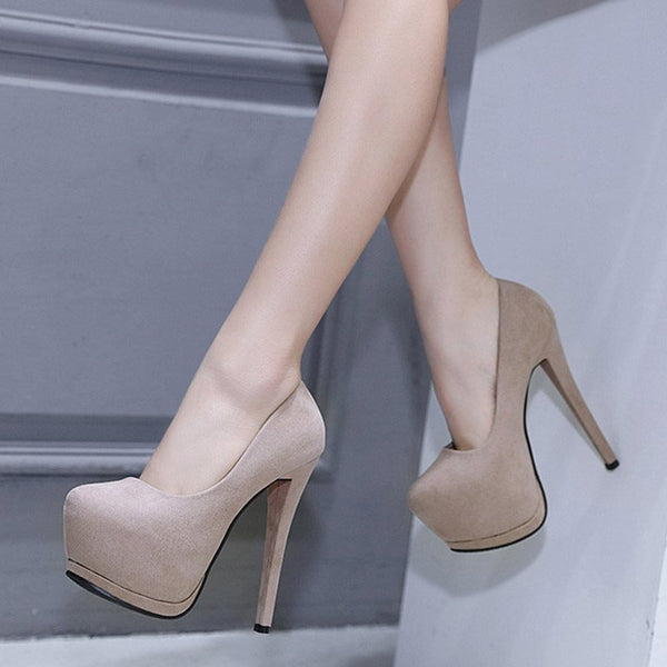 Round Toe Platform Stiletto Heel Slip-On Low-Cut Upper Plain Thin Shoes