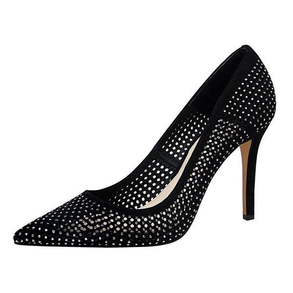Pointed Toe Stiletto Heel Slip-On Rhinestone Low-Cut Upper Banquet Thin Shoes