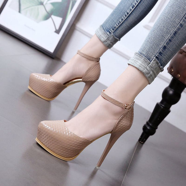 Round Toe Line-Style Buckle Platform Stiletto Heel Low-Cut Upper 13cm Thin Shoes