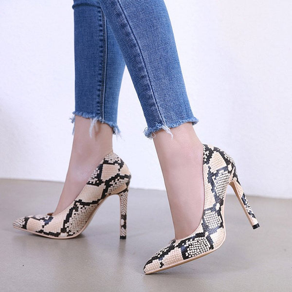 Stiletto Heel Slip-On Pointed Toe Low-Cut Upper Casual Thin Shoes