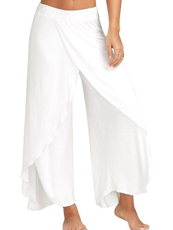 Asymmetric Loose Plain Full Length Casual Pants