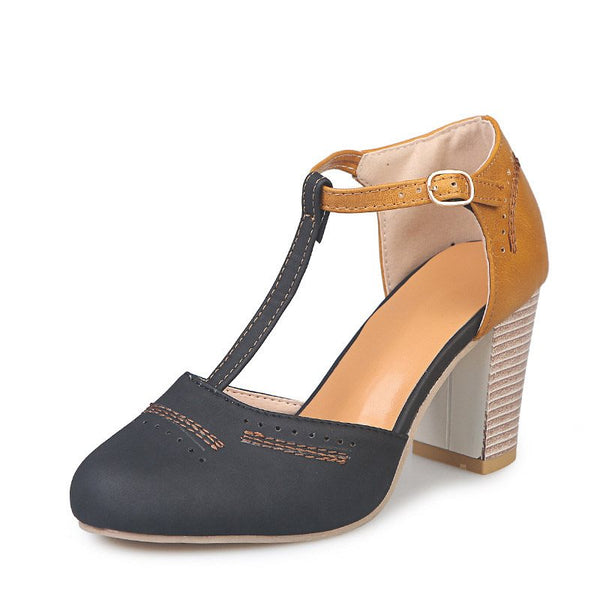 Buckle Chunky Heel Buckle Round Toe Color Block Western Thin Shoes