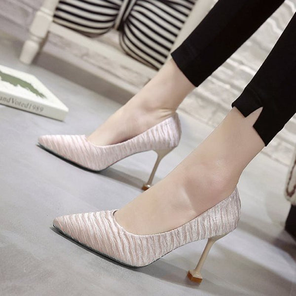Stiletto Heel Pointed Toe Slip-On 8cm Plain Thin Shoes