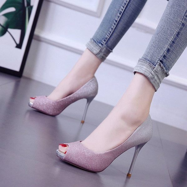 Slip-On Peep Toe Stiletto Heel Casual Gradient Thin Shoes