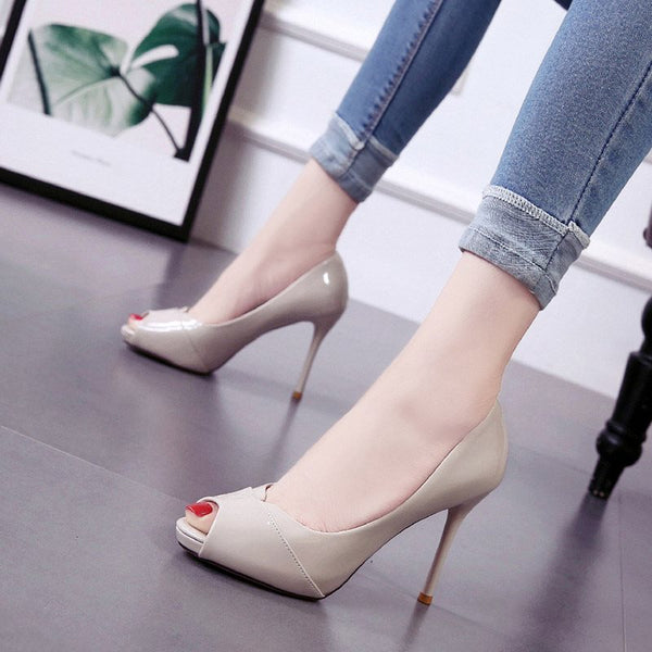 Peep Toe Slip-On Stiletto Heel 8cm Low-Cut Upper Thin Shoes