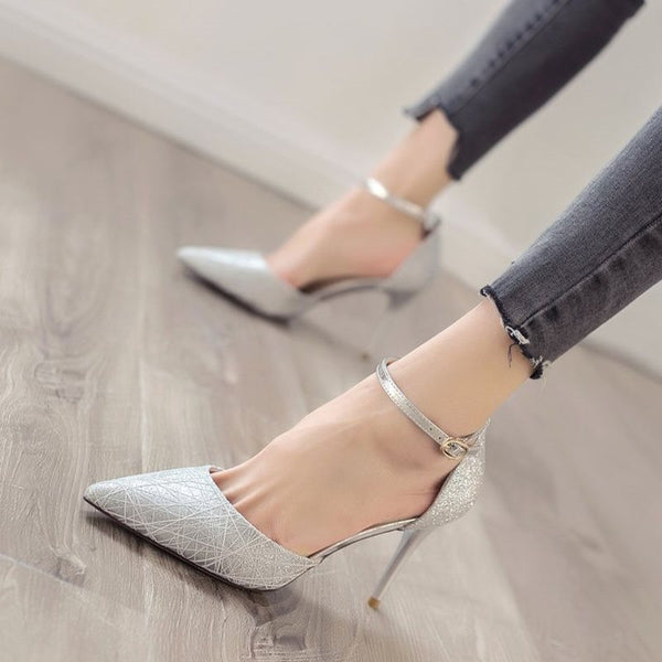 Stiletto Heel Line-Style Buckle Pointed Toe Low-Cut Upper Casual Thin Shoes