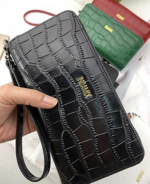 Embossed Croc. Leather Wristlet