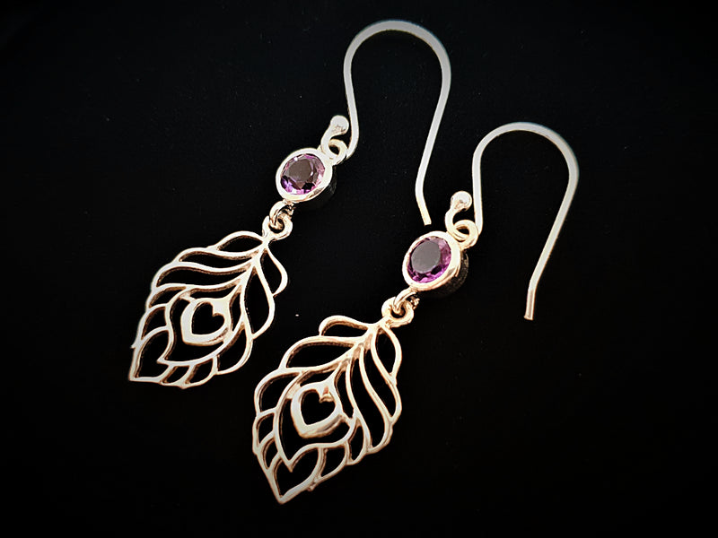 Amethyst Peacock Feather Earrings