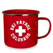 Ski Patrol Enamel Metal Cups - Red