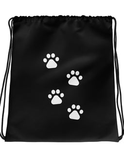 Black Avy Dog Drawstring bag
