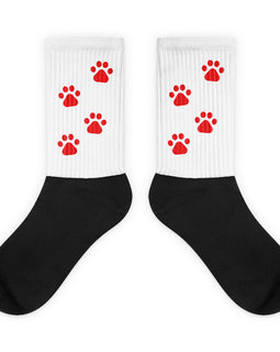 White Walking Puppy Paw Fun High Socks
