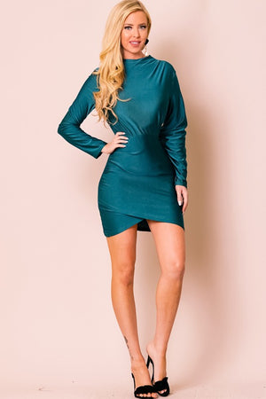 MOCK NECK LONG SLEEVE ASYMMETRICAL DRESS