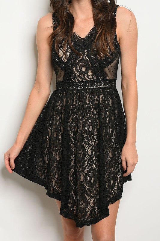 Lace V Neck Sleeveless Dress