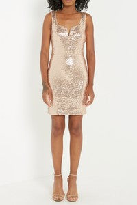 Sequin Bodycon Rose Gold Dress