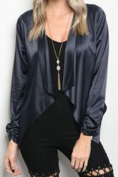 Satin Draped Cardigan