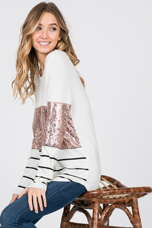 SEQUINS CONTRAST FABRIC MIX TUNIC TOP
