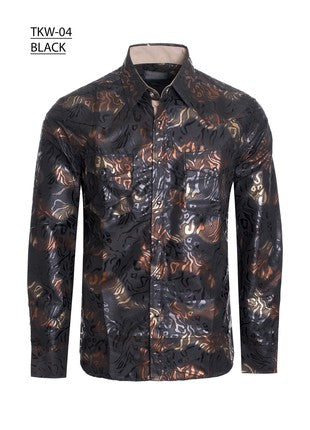 Men's long sleeve foil printed shirt