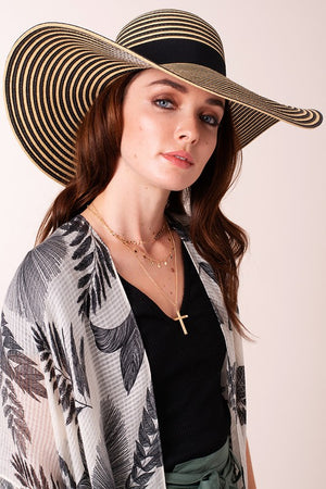 Grosgrain Ribbon Floppy Straw Hat