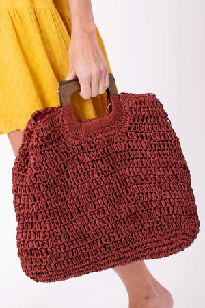 Natural Straw Crochet Bag with Wooden Handle