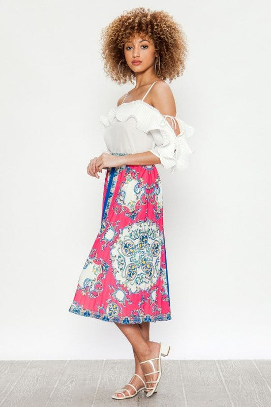 Baroque Pleated  Printed Skirt