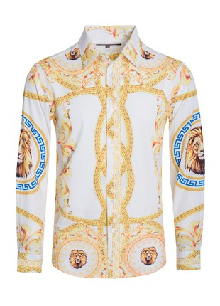 Men's Print Royal Long-Sleeve Shirt