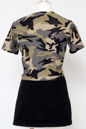 Camo Printed Patch Top