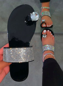 Women's Rhinestone Black Flats Sandals