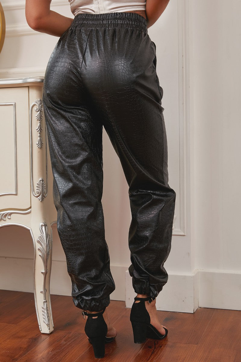 Faux Leather Jogger Pants with Elastic Waist