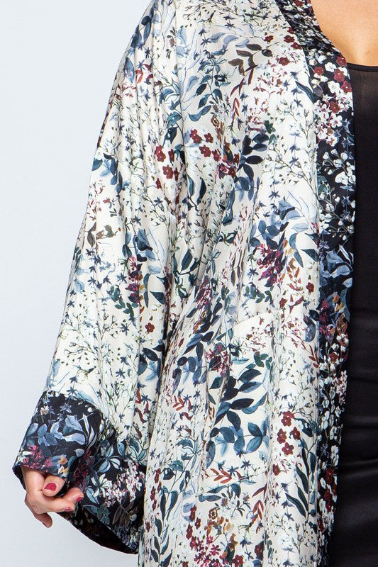 Women's Plus Woven Flower Print Cardigan