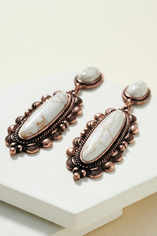 Squash Blossom Stone and Metal Casting Earrings