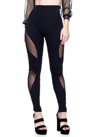 Ladies High Waisted Leggings with Mesh Detail