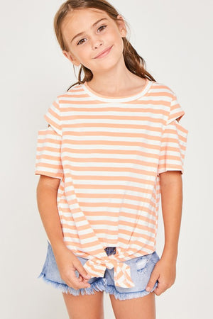Stripe Sleeve Cut-Out Tie-Front Tee
