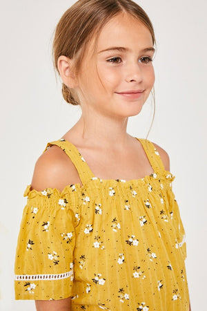 Girls Floral Cold-Shoulder Ruffle Top