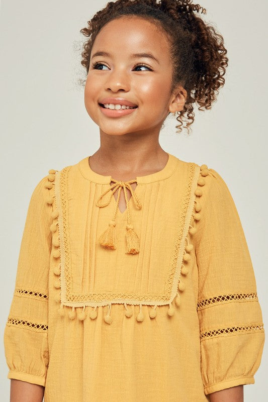 Girls Pom-Pom Gauze Peasant Dress